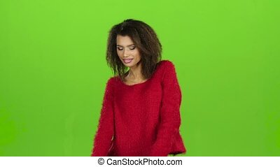 Afro american female sexy dancing on green screen, slow motion