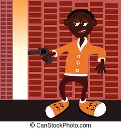Afro american gangster with gun - Vector illustrated afro...