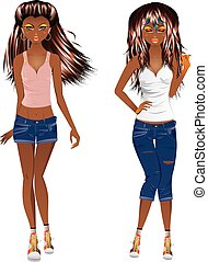 Afro American Girl Casual Style - Fashion african american...