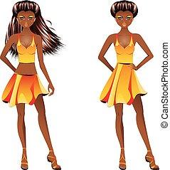 Afro American Girl in Dress - Fashion african american girl...