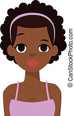 Afro american girl vector illustration. - Portrait of afro...