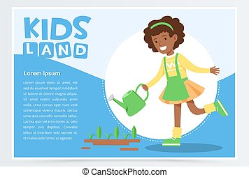 Afro american girl watering plants with a watering can, eco concept, organic gardening, kids land banner flat vector element for website or mobile app