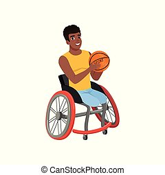 Afro-American guy without legs sitting in wheelchair and...
