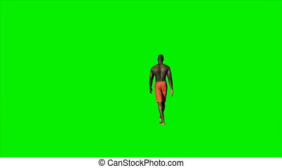 Afro american in shorts walking against Green Screen, 4K
