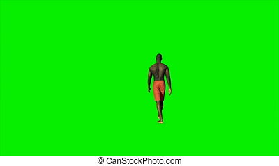 Afro american in shorts walking against Green Screen