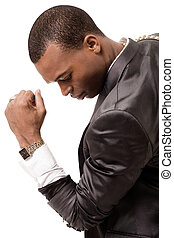 afro-american, jovem, homem negócio
