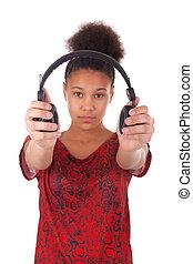 afro-american, junge frau, mit, kopfhörer