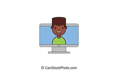 afro american man computer net work animation hd
