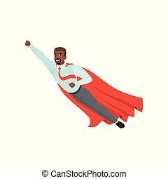 Afro-american man with superhero cloak flying with hand up. Successful businessman in blue shirt, red tie and gray pants. Leadership and achievement. Flat vector design
