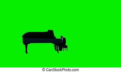 Afro american piano performer, camera rotating, Green Screen