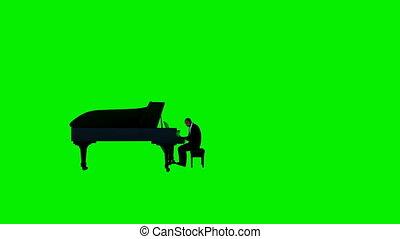 Afro american piano performer, camera rotating, Luma Matte...