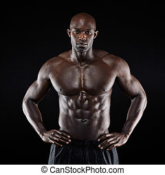 afro-american, seu, desligado, mostrando, physique, homem...