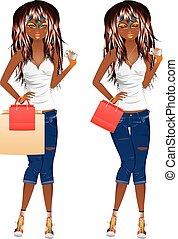 Afro American Shopping Girl - Fashion african american girl...