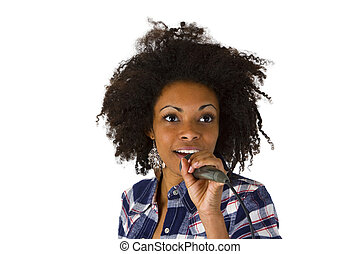 Afro american singer isolated on white background