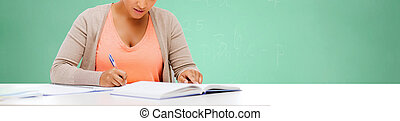 afro american student girl studying in college