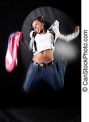 afro-american, tänzer, in, springen, mit, usa markierung