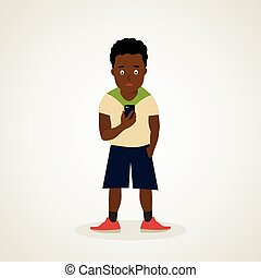 Afro American teenager - Teen African American holds the...