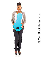 afro american woman holding key