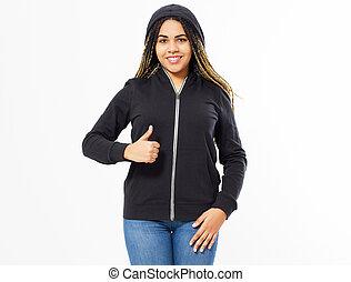 Afro american woman in black hoodie show hand like sign, girl in sweatshirt mock up