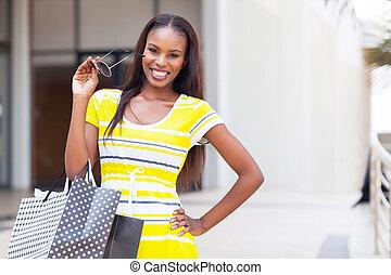 afro american woman shopping