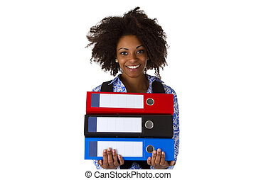 Afro american woman with folders