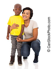 afro american woman with her son