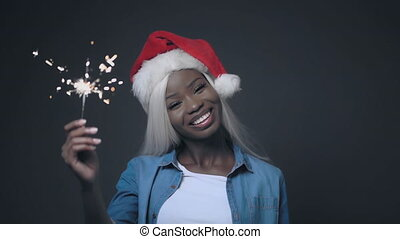 Afro-American woman with white hair Happy christmas - ...