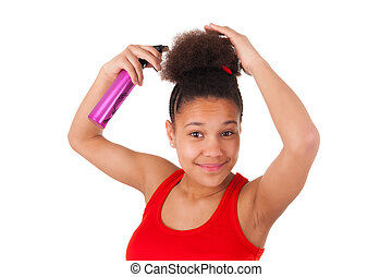 Afro-American young woman with afro hair
