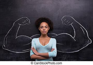 afro-amerykańska kobieta, barwiony, herb, muskularny, chalkboard, poważny