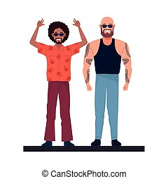 afro and bald men perfectly imperfect characters vector illustration design