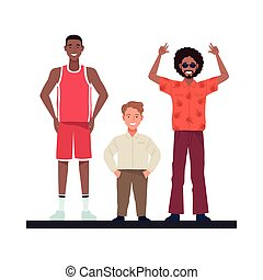 afro and basketball player men with shortman perfectly imperfect characters vector illustration design