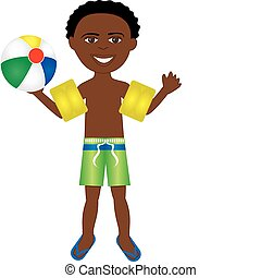 Afro Boy Swimsuit - Vector of afro boy in swimsuit with arm...