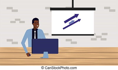 afro businessman using computer in the office animation -...