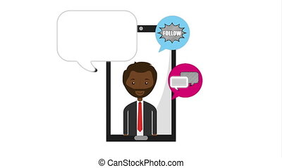 afro businessman with ecommerce technology animation , hd...