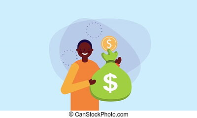 afro businessman worker with coins money ,hd video animation