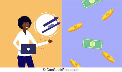 afro businesswoman using laptop with money animation - afro...