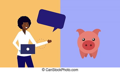 afro businesswoman using laptop with piggy money animation -...