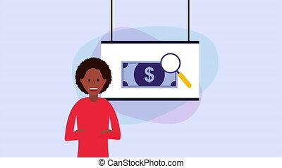 afro businesswoman with paperboard and money ,hd video...