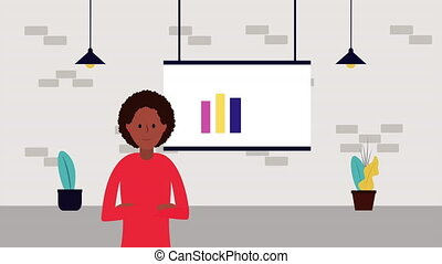 afro businesswoman with paperboard and statistics character...