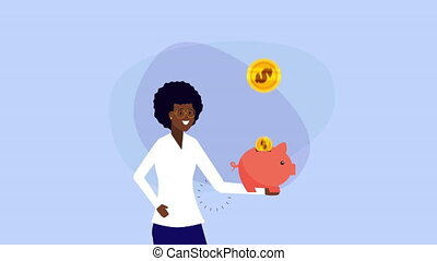afro businesswoman with piggy savings money animation - afro...