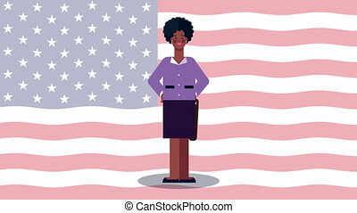 afro businesswoman worker avatar character