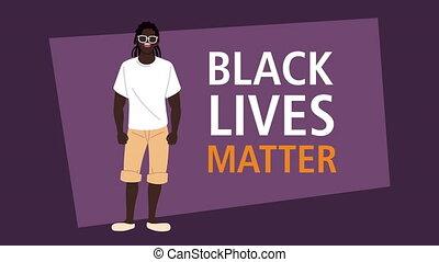 afro, caractère, vies, homme, lettrage, noir, matière