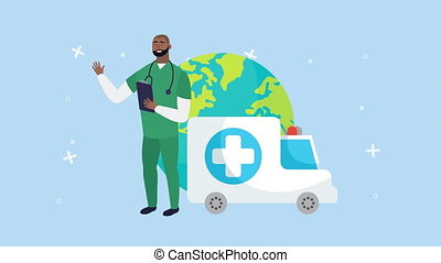 afro doctor with checklist and ambulance ,4k video animated