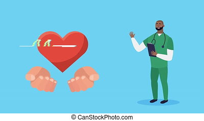 afro doctor with checklist and heart cardio animation ,4k video animated