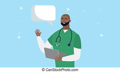 afro doctor with checklist animation ,4k video animated