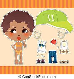 afro estadounidense, moda, niña