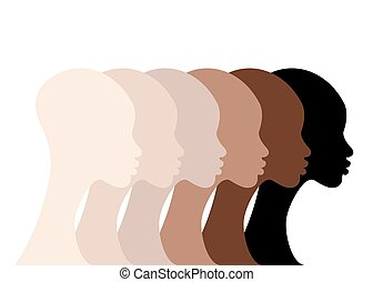 afro, faces, noir, isolé, course, profil, portrait, colors., fond blanc, différent, beauté, skin., peau, vecteur, femmes, woman., silhouettes, tonalité, africaine, diversité, concept