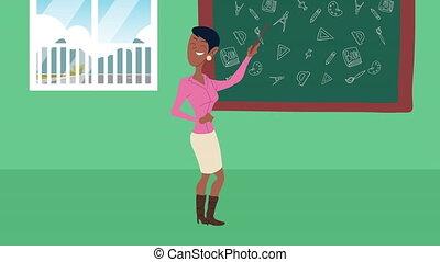 afro female teacher teaching in chalkboard character ,4k ...