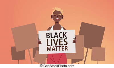 afro, femme, levage, bannière, vies, lettrage, noir, matière