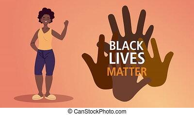 afro, femme, vies, mains, lettrage, noir, matière